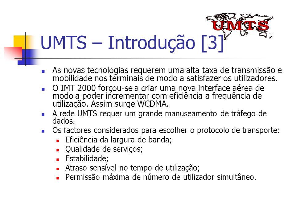 UMTS – Introdução [3] As novas tecnologias requerem uma alta taxa de transmissão e mobilidade nos terminais de modo a satisfazer os utilizadores.
